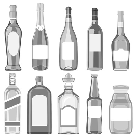A set of glass bottles with different drinks. illustration on a white background.