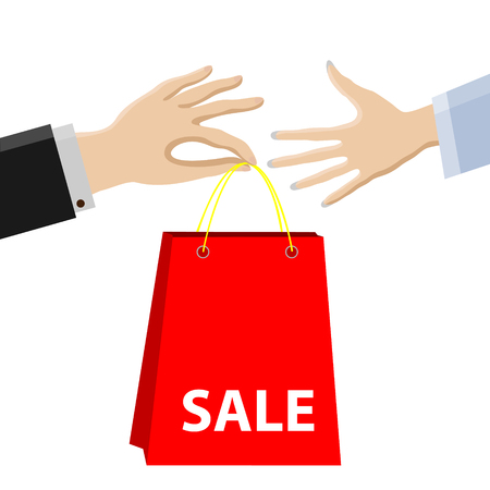 Shopping,sale.Purchase passes from male hands to female.  イラスト・ベクター素材