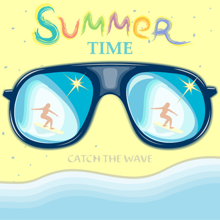 Girl surf-the reflection in the sunglasses.illustration-holidays in the summer.
