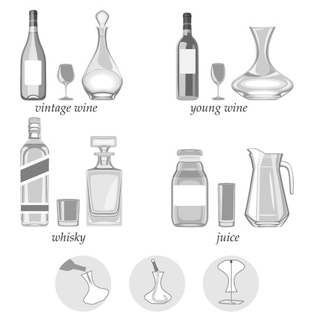 illustration. decanters-their types,purpose and way of caring for them. Ilustração