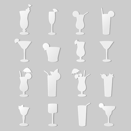 The background,consisting of silhouettes cocktails.A set of sixteen cocktails isolated on gray background. Ilustração