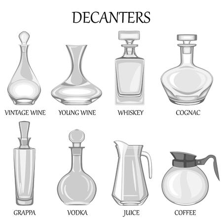 각종 음료의 팔 디캔터의 집합의 그림.