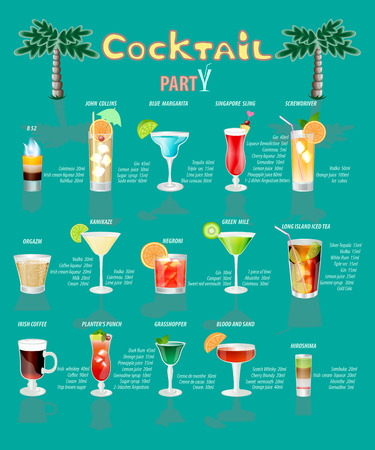 collins: cocktail menu,which consists of popular drinks.