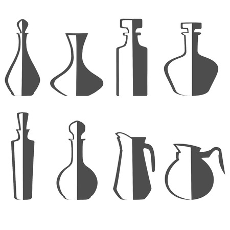 illustration of set of eight decanters of various drinks.