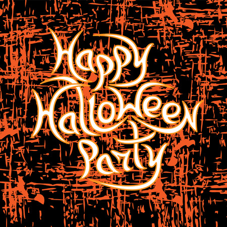 Message Happy Halloween Party on grunge background.Vector illustration.