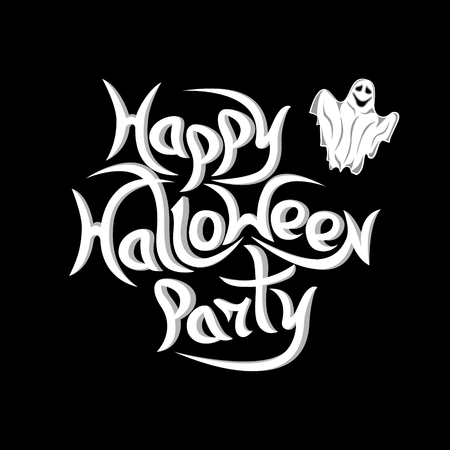 Message Happy Halloween Party on black  background.Vector illustration.