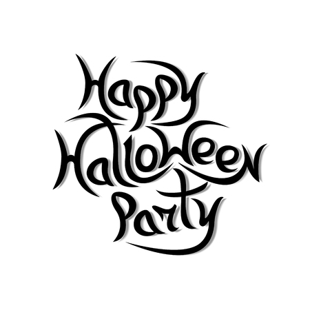 Message Happy Halloween Party on white background.Vector illustration.