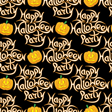 Abstract seamless pattern for Halloween. The message happy Halloween party on a dark background.