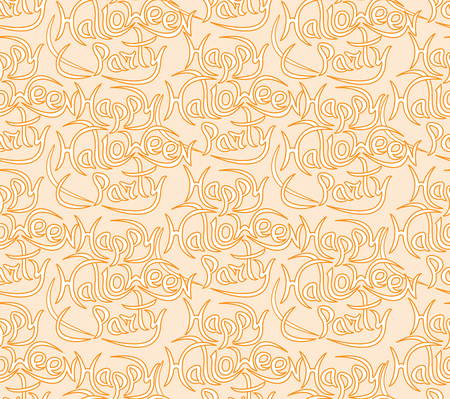 Abstract seamless pattern for Halloween. The message happy Halloween party on a light background .