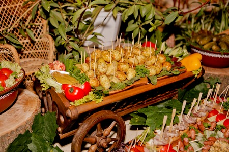 Exquisite wedding table with snacks, Cossack table. Stock Photo