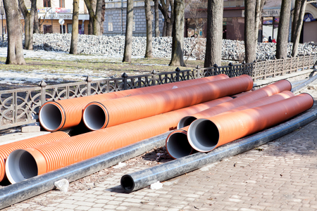 Corrugated water pipes of large diameter prepared for laying.