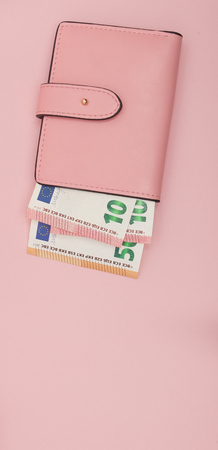 Wallet with Euro Currency on a Vibrant Blue Background.
