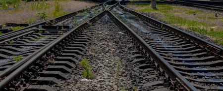 Railroad travel, railway tourism. Blurred railway Transportation
