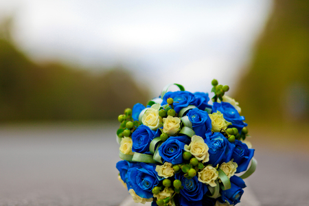 Blue wedding bouquet,Blue rose