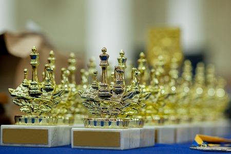 Vainqueur de la coupe d'or. Échecs.. Émotions après le jeu d'échecs.