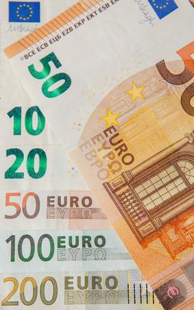 Euro Money. euro cash background. Euro Money Banknotes. Background from different euro banknotes close up Фото со стока
