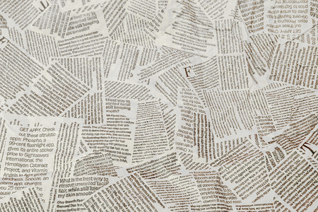 Black and white repeating torn newspaper background. Continuous pattern left, right, up and down.