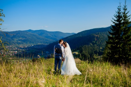 Newlyweds smile and hug each other among the meadow on top of the mountain. Wedding walk in the woods in the mountains, the gentle emotions of the couple, photo for Valentines Day. Stok Fotoğraf