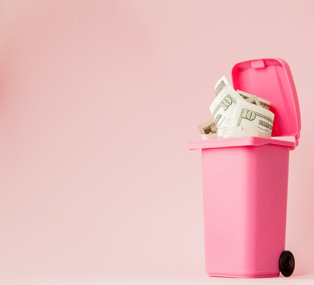 Dollars bank notes in pink rubbish bin on pink background.