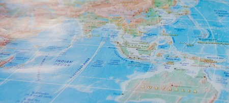 Indonesia in close up on the map. Focus on the name of country. Vignetting effect. Reklamní fotografie - 119985508