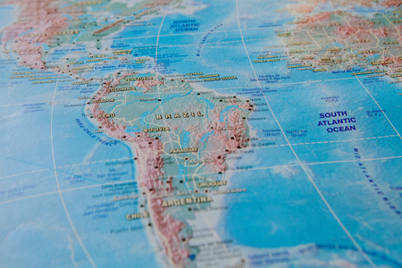 Brazil in close up on the map. Focus on the name of country. Vignetting effect.
