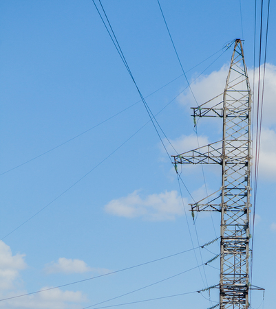 High Voltage Electric Tower. High voltage post or High voltage tower Power concept. Stock Photo