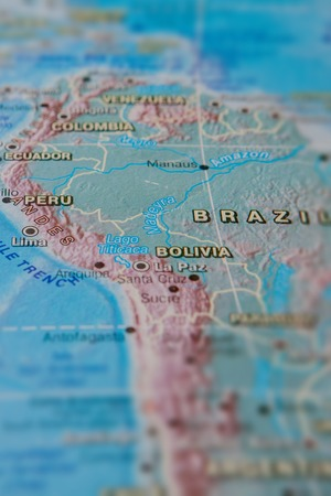 Brazil and Peru in close up on the map. Focus on the name of country. Vignetting effect.