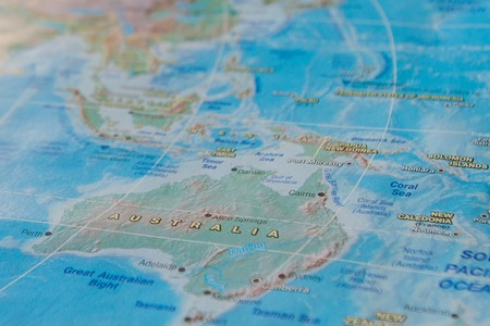 Australia in close up on the map. Focus on the name of country. Vignetting effect.