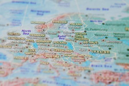 Cerrar mapa de Alemania, Polonia y otros países de Europa.
