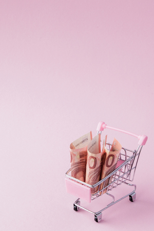 Supermarket Cart Full of Euro banknotes on a pink background with Copy Space. Free trade. money market. Minimalism style. Shop trolley at supermarket. Sale, discount. Stok Fotoğraf