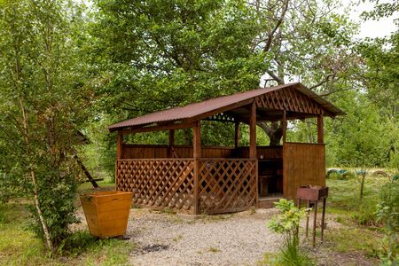 Holiday house near the lake. The concept of fishing and recreation.
