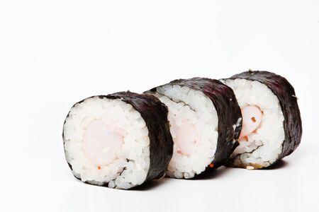 Traditional fresh japanese sushi rolls isolated on white background.