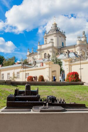 Lviv, Ukraine - August 18, 2019: layout for the blind St. George's Cathedral is a baroque-rococo cathedral located in the city of Lviv, the historic capital of western Ukraine.