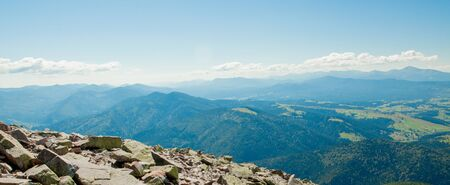 Panorama of Carpathian mountains in summer sunny day ,Travel at Ukraine. Beauty of nature concept Stock Photo