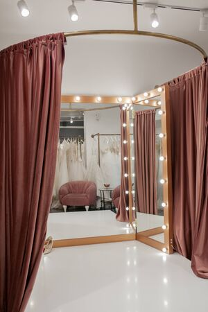fashion boutique interior, fitting room in the wedding salon.