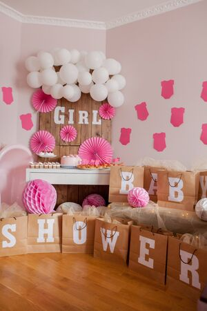 It's a girl. Baby shower. Decoration for party Foto de archivo