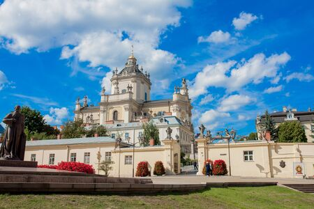 Lviv, Ukraine - August 23, 2019: St. George's Cathedral is a baroque-rococo cathedral located in the city of Lviv, the historic capital of western Ukraine.