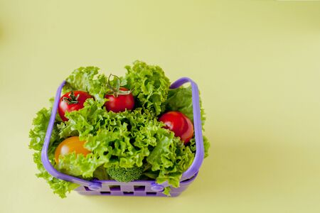Small Fresh vegetables in basket on yellow background. Food background concept with copyspace. Reklamní fotografie - 132191409