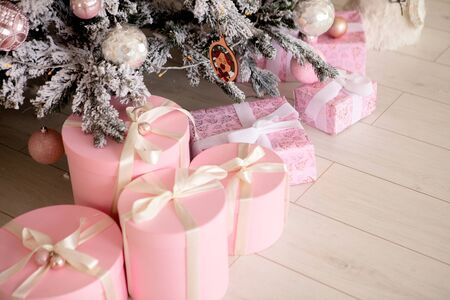 Presents and Gifts under Christmas Tree, Winter Holiday Concept. 스톡 콘텐츠