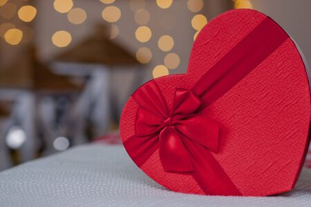 Close up of gift boxes in heart shaped. Heart shaped gift boxes on Valentines day