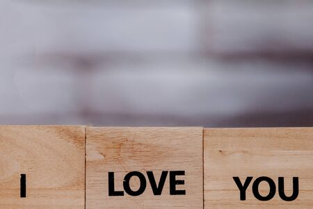 Wooden block with description: I love you on white background, Copy space. 스톡 콘텐츠