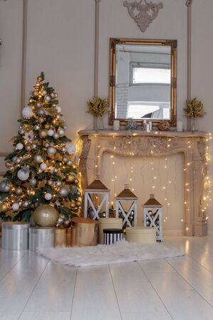 Christmas location with Christmas tree and decoration.