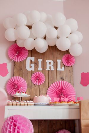 Its a girl. Baby shower. Decoration for party