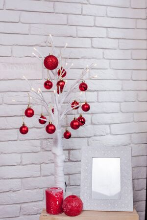 Beautiful decorative white branches with Christmas toys for Valentines day, copy space.