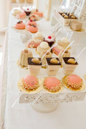 Desserts with fruits, mousse, biscuits. Different types of sweet pastries, small colorful sweet cakes, macaron, and other desserts in the sweet buffet. candy bar for birthday or wedding