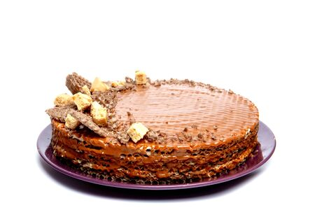 chocolate cake, isolated on a white background. Reklamní fotografie