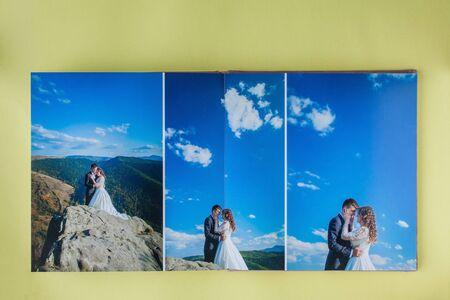 Luxury white leather wedding photo album and photo book. Stock Photo