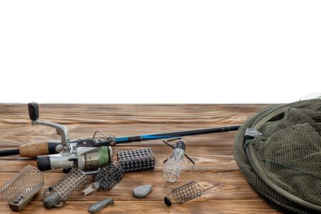Fishing tackle and accessories isolated on white background. Selective Focus. Text for example, and can be easily removed.