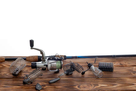 Fishing tackle and accessories isolated on white background. Selective Focus. Text for example, and can be easily removed