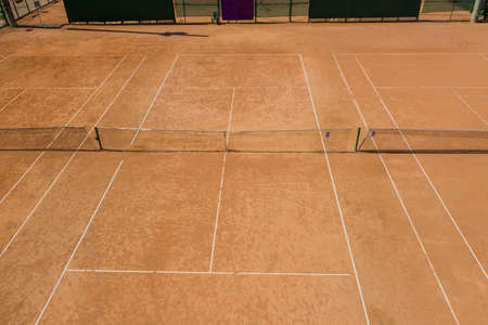 Tennis Clay Court. View from the bird.